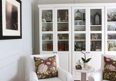 Wood Bookcases Painted with Snowfall Benjamin Moore by Curious Details: My Office Before & After