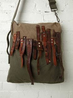 distressed canvas bag, multi-buckle straps on the front flap, BLACK HAWK HOBO by TK Garment Supply at Free People Crea Cuir, Diy Sac, Boho Bags, Cute Bags, Handmade Bags, Beautiful Bags, Leather Working, Leather Bag, Purses And Bags