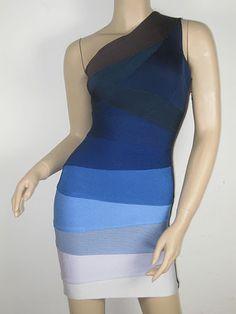 Herve Leger Alexis One Shoulder Ombre Dress In Blue
