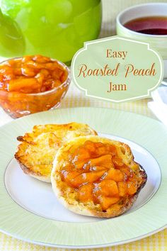 Easy Roasted Peach J Easy Roasted Peach Jam. A super simple 3 ingredient jam that you make in the oven reducing and intensifying the flavour of the fruit as it roasts. Rock Recipes, Jelly Recipes, Jam Recipes, Dessert Recipes, Cooking Recipes, Desserts, Fruit Recipes, Vegan Recipes, Slow Cooker