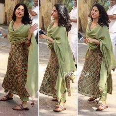 Simplicity at it's Best💖😍 Janhvi was snapped, as she leaves from gym. Indian Attire, Indian Ethnic Wear, Indian Outfits, Kurta Designs Women, Churidar Designs, Simple Indian Suits, Casual Indian Fashion, Women's Fashion, Indian Designer Suits