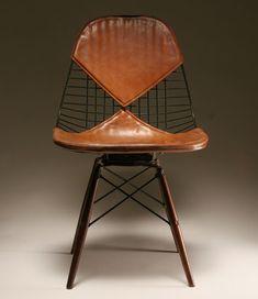 Charles Eames; #PKW Birch Dowel Wire Chair with Postman's Bag Leather 'Bikini' Pad, 1952.