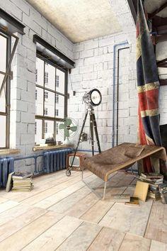 déco loft originale - murs de parpaing blanc, lampadaire tripode projecteur et fauteuil en cuir