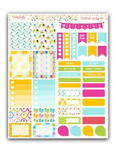 Summer fun stickers kit  Themed weekly kit by PrettyCraftyStickers