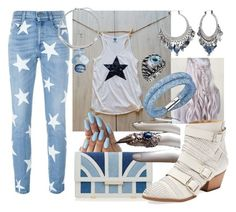 """Denim Star"" by creativelycandice on Polyvore featuring Aperlaï, STELLA McCARTNEY, Schutz, Swarovski, Chico's, women's clothing, women, female, woman and misses"