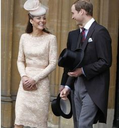 Champagne Lace. Kate always looks so beautiful. They really seem to ENJOY eachother