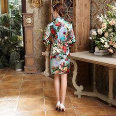 Cheongsam bamboo print dress (2)            https://www.ichinesedress.com/
