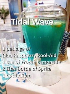Tital Wave Punch Blue Raspberry Kool-Aid 1 Can Frozen Lemonade 2 Liter bottle of Sprite. Minus the alcohol Liquor Drinks, Cocktail Drinks, Blue Alcoholic Drinks, Bacardi Drinks, Summer Alcoholic Punch, Alcoholic Drinks Recipes With Vodka, Summer Rum Drinks, Summer Mixed Drinks, Summer Shots
