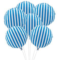 It's time to add some color to your life with these fun and colorfully striped Mylar balloons. Mix and match with your decor and colors of choice, these 18 inch round, vertically striped balloons are