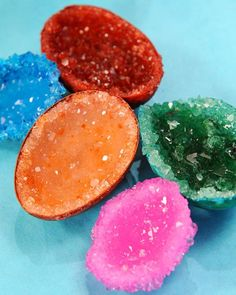 Make crystal geodes out of alum powder, eggshells, and glue.