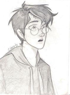 Harry Potter Sketch, Harry Potter Drawings, Harry Potter Fan Art, James Potter, Art Drawings Sketches Simple, Cute Drawings, Disney Drawings, Cartoon Drawings, Desenhos Harry Potter