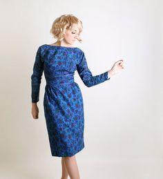 Vintage 1960s Wiggle Dress  Royal Blue Mr. Mort Floral by zwzzy, $98.00