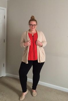 Business Casual - Orange eyelet tank top, creme sweater, black skinny pants, nude eyelet flats, and top knot.