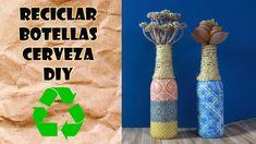 Cómo reciclar botellas de cerveza con decoupage. Candelabro o florero DIY. Thing 1, Decoupage, Bottle, Diy, Crafts, Youtube, Home Decor, Glass, Beer Bottles
