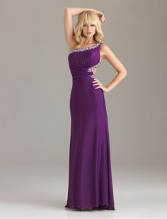 Elastic Imitation Silk One-Shoulder Strap Sheath Prom Dress with Beading Accents