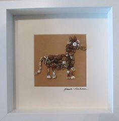Oregon Coast Agates Farm Series Neigh!  Agate/Zeolite Horse Handmade in White Shadow Box Frame by OregonCoastAgates on Etsy