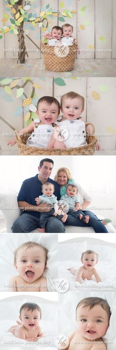 6 month old twin baby portraits with family