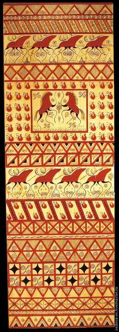 Быт ручной работы. Ярмарка Мастеров - ручная работа Мезенская роспись - панно декоративное. Handmade.