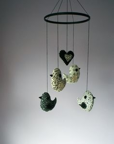 ***SALE was 57 now 48***     Birds and Heart - perfect nursery mobile or home decor.    Four birds and one heart is hung from painted black wooden