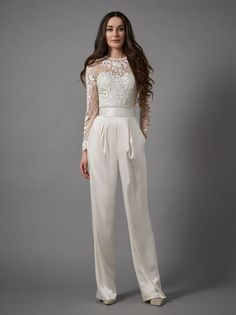 Add a modern and elegant touch to your big day with the oriental florals of the Jessica Bodysuit. Long graceful sleeves create a classic and graceful look whilst the intricate and delicate embroidery will leave you feeling fresh and unique. A bodysuit clo Wedding Trouser Suits, Wedding Pantsuit, Bridal Robes, Bridal Dresses, Wedding Dresses For Sale, Wedding Gowns, Catherine Deane Wedding Dress, Wedding Jumpsuit, Wedding Dress Suit