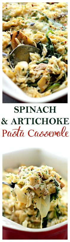 Spinach and Artichoke Pasta Alfredo Casserole – Delicious vegetarian dinner with Spinach Artichokes and Orzo pasta mixed in a lightened-up homemade Alfredo Sauce.  Get the