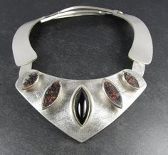 Necklace | C. Bischoff.  Sterling silver, onyx and glass