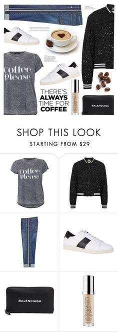 """Buzz Worthy: Coffee Date"" by ames-ym ❤ liked on Polyvore featuring Alice + Olivia, Alexander McQueen, Sandro, Balenciaga, Urban Decay, boyfriendjeans, bomberjacket, CoffeeDate and stripesneakers"