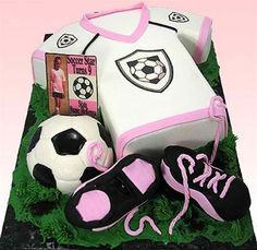 """Soccer All Stars"" Cake (Iced with Buttercream!) by Susan Carberry - If your ""goal"" is to ""breakaway"" and score a ""direct free kick"" with the soccer players in your town, then this is the cake to bake!  For boys and girls alike - change the team colors and it's a versatile cake for all soccer lovers."