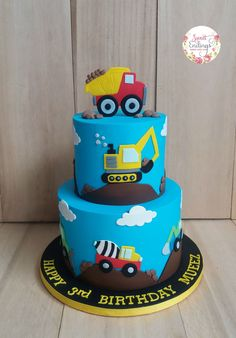 Baby boy birthday cake trucks 53 Ideas for 2020 Digger Birthday Cake, 2nd Birthday Cake Boy, Digger Cake, Truck Birthday Cakes, Cupcakes, Bebe Love, Novelty Cakes, Celebration Cakes, Themed Cakes