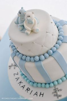 Boy christening cake from My Sweethearts Bakery Baby Boy Cakes, Cakes For Boys, Baby Shower Cakes, Christening Cake Boy, Baby Boy Baptism, Baptism Cakes, Cupcakes, Cupcake Cookies, Gateaux Cake