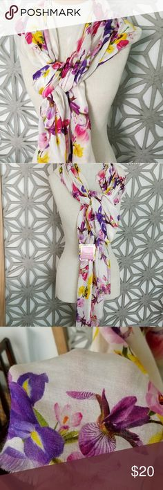 "NWT FLORAL SCARF/BEACH COVER UP SILK BLEND Price tag shows price was $39.95. This gorgeous silk blend floral scarf is perfect for spring and summe. Use it as a cute beach cover up/wrap/kaftan/sarong! Super soft and high quality! Measures 32""x80"". Brand is Punctuate and made exclusively for Barnes and Noble. BUNDLE AND SAVE! PLZ CHECK OUT MY OTHER LISTINGS! I have lots of new giftable items, new coloring books, collectibles, vintage, jewelry, clothing & home decor!  Tags: Not Lilly Pulitzer…"