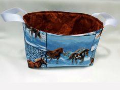 Wild Horses Fabric Grooming Caddy Fabric Bin by MyBuddyBling