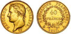 40 francs or Napoléon 1er Empereur 1807 - 1808. Napoléon tête laurée