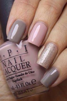 Pink and Grey with Gold #nails #nailarts #naildesign