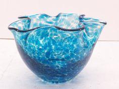 Raymond Nelson Spatter Art Glass Bowl Pinched by GarageSaleGlass, $21.99