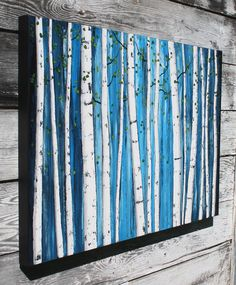 abstract painting of white birch, tree painting, landscape painting, birch tree art, contemporary art (24x36) White Birch Grove