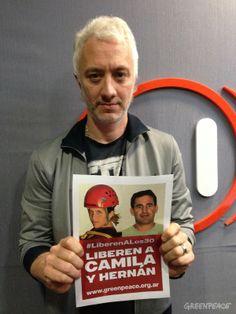 Andy Kusnetzoff también pidió la liberación de Camila y Hernán © Greenpeace / Katz