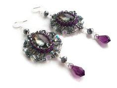 Victorian Lady Purple Dangle Women's Earrings  Purple