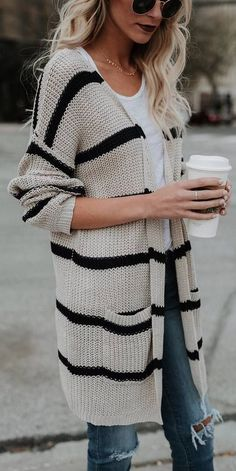 #fall #outfits striped white cardigan ripped jeans
