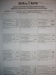 FACEing math activity - fun for equation review - could also work with inequalities - and is this a solution type problems.