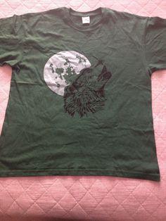 #lobo #luna #t-shirt #plateado #green