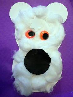 polar bear circle craft with cotton ball fur