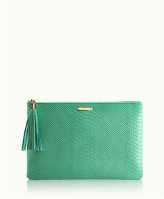Island Green Uber Clutch | Embossed Python Leather | GiGi New York-I'm in love!!!