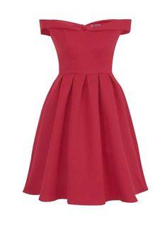 *Chi Chi London Berry Bardot Midi Dress