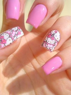 HK |❣| HELLO KITTY Nail Art ,<3 <3
