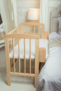 BABY Co-sleeper Crib Bedside Cot Bed Wooden White Mattress Next to Me From Birth