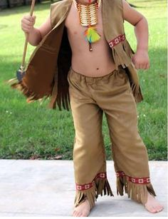 Child's INDIAN COSTUME, Native American Indian Vest, Pants, and Headband, Sizes 2,  3/4,  and 5/6, Made to Order
