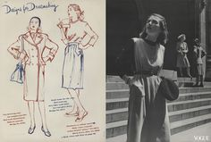Illustration by Jane Turner, Vogue, August 1, 1943; Photographed by Luis Lemus, Vogue, August 1, 1943