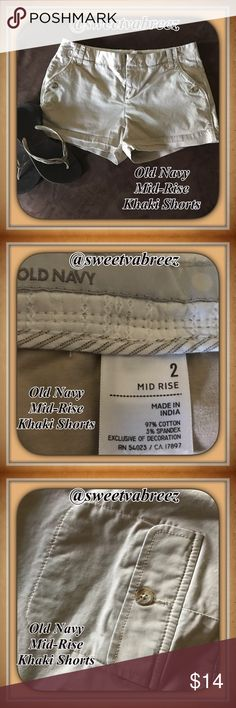 Old Navy Mid-Rise Khaki Shorts Gently worn Old Navy Khaki Mid-Rise shorts. Very soft and nicely made. These pair are in great condition. Spring to Summer ready Old Navy Shorts