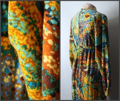 D E S C R I P T I O N:    The dress you see above is a spectacular find, as it is part of an incredible series of dresses made by the talented Goldworm in the 1970s which were inspired by famous paintings. This dress is similar to a Monet piece, with its vibrant speckled pattern giving a nod to Impressionism. These dresses are incredibly collectable, and may as well be considered investments, as they will surely accrue value with time.    This particular garment is not only rich with…